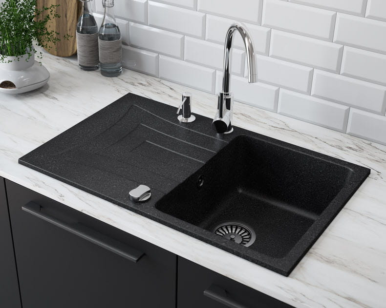 Franke Sirius  Bowl Black Composite Single Kitchen Sink